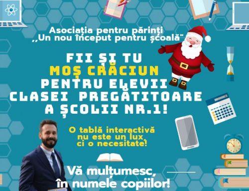Hai să fim Moș Crăciun pentru micii elevi ai Școlii Nr.1 Pitești!